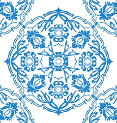 Blue and white round floral background vector