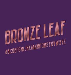 bronze leaf alphabet high letters retro font vector image
