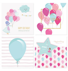 cartoon birthday card templates for girls vector image