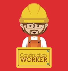 Cartoon builders with sign vector