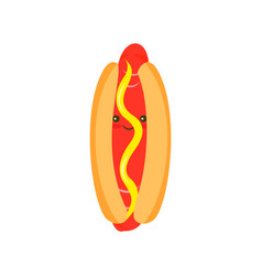 Cartoon hotdog with mustard vector