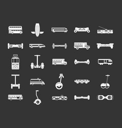 city transport icon set grey vector image