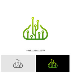 cloud tech logo design concept tech cloud logo vector image