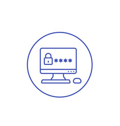 computer with password access line icon vector image