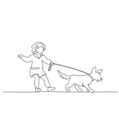 continuous one line drawing little cute girl vector image