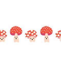 cute toadstools seamless border horizontal vector image