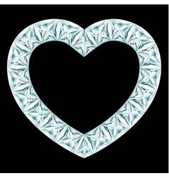 Diamond heart frame on black background vector