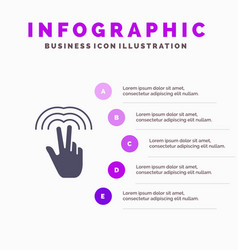 Double gestures hand tab solid icon infographics vector