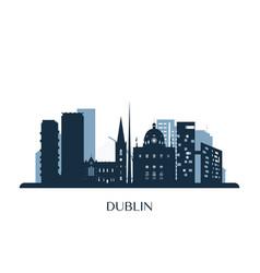 dublin skyline monochrome silhouette vector image