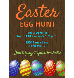 easter hunt invitation card vector image