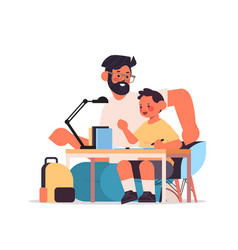 father helping son doing homework parenting vector image