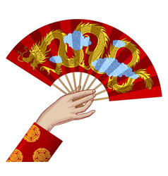 female hand with a red chinese fan vector image