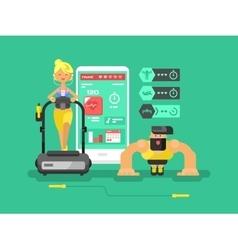 Ffitness app man and woman flat design vector image