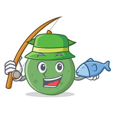 Fishing guava mascot cartoon style vector