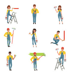 Flat set of painters with equipment brush vector