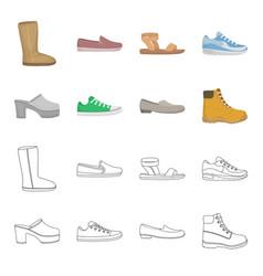 Flip-flops clogs on a high platform and heel vector