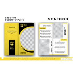 Flyer brochure design for seafood restaurant vector
