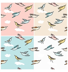 Flying birds in a seamless pattern vector image