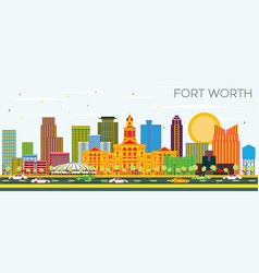fort worth texas city skyline with color vector image