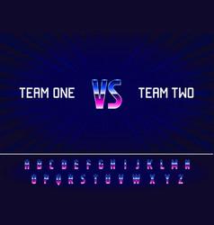 game versus screen full abc alphabet font vector image