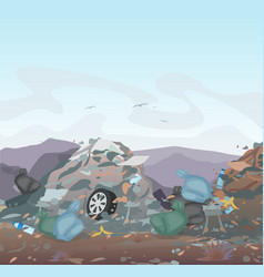 garbage landfill full of vector image