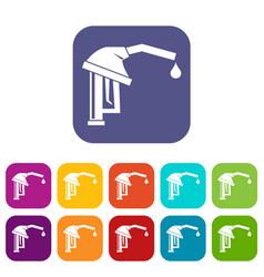 Gasoline pump nozzle icons set vector