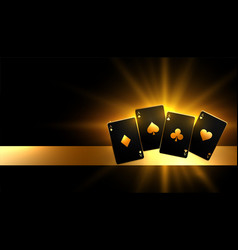 Glowing golden paying cards casino background vector