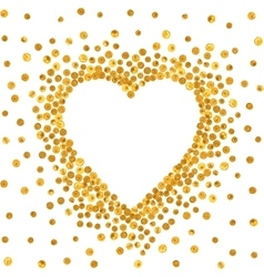 Gold frame in the shape of heart vector