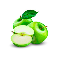 Green apples with leaves and apple slice vector