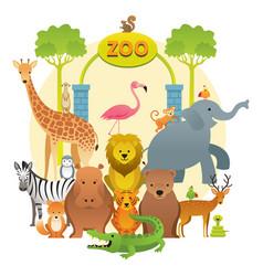 group of wild animals zoo vector image