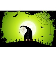 Halloween Zombie Party Poster with Hat vector image