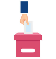 Hand with ballot box isolated icon vector