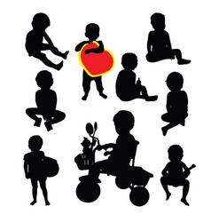 happy funny kid silhouettes vector image
