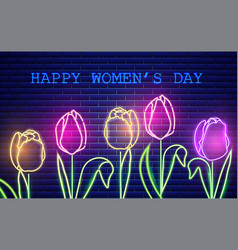 happy mother day tulip flowers neon light vector image