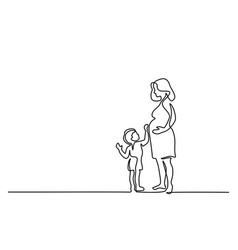 happy pregnant woman with son vector image