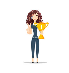 Happy young woman with the winners cup vector