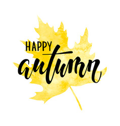 Hello autumn text on yellow watercolor maple leaf vector