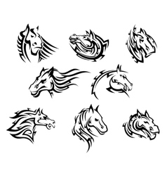 Horse head tribal tattoos vector