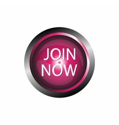 Join now icon glossy pink button isolated vector image