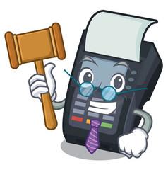 Judge edc machine on character cardboard vector