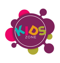 Kids zone logo template child palm hands and vector