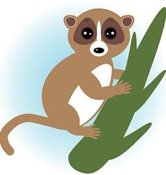 Lemur on green branch on white background vector