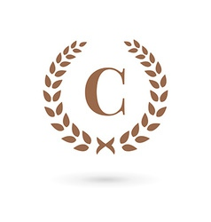 Letter C laurel wreath logo icon design template vector