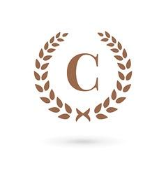Letter C laurel wreath logo icon design template vector image