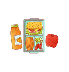 lunchbox with school lunch - sandwich with vector image