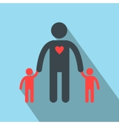 Man with two children silhouette flat icon vector