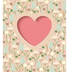 Meadow flowers heart vector