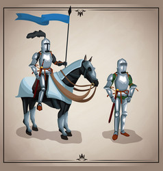 medieval warriors with horse vector image