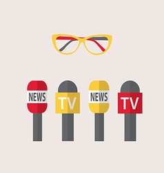 microphones journalism live news news vector image