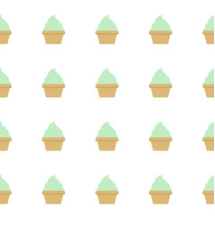 mint cream cake seamless white pattern vector image